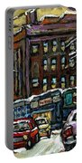 Buy Original Paintings Montreal Petits Formats A Vendre Scenes Traffic On Rue Van Horne Portable Battery Charger