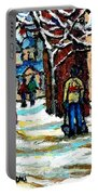 Buy Original Paintings Montreal Petits Formats A Vendre Scenes Man Shovelling Snow Winter Stairs Portable Battery Charger