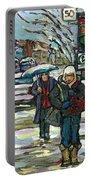 Rue Cote St Catherine Peintures Petit Format A Vendre Scenes De Ville Montreal Street Scenes  Portable Battery Charger