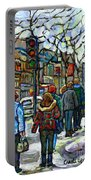 Promenade Au Centre Ville Rue Ste Catherine Montreal Winter Street Scene Small Paintings  For Sale Portable Battery Charger