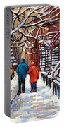 Promenade En Hiver Winter Walk Scenes D'hiver Montreal Street Scene In Winter Portable Battery Charger