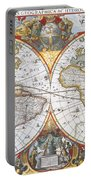 Hondius World Map, 1630 Portable Battery Charger by Photo Researchers