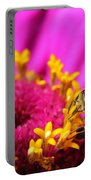 Honey Bee Pollinating Zinnia Portable Battery Charger