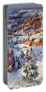 Hoodoos And Fir Tree In Winter Bryce Canyon Np Utah Portable Battery Charger