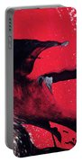 Hope - Red Black And White Abstract Art Painting Portable Battery Charger