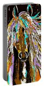 Horse Abstract Brown And Blue Portable Battery Charger