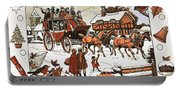 Horse And Carriage In The Snow Portable Battery Charger