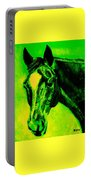 Horse Art Horse Portrait Maduro Green Black And Yellow Portable Battery Charger