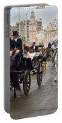 Horse Drawn Carriages And Women On Horseback Riding Sidesaddle O Portable Battery Charger