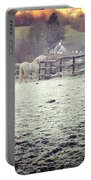 Horses On A Frosty Pasture Portable Battery Charger