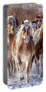 Horse Herd In Snow Portable Battery Charger