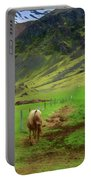 Horse On The South Iceland Coast Portable Battery Charger