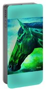 horse portrait PRINCETON blue green Portable Battery Charger