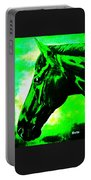 horse portrait PRINCETON green and black Portable Battery Charger