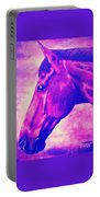 horse portrait PRINCETON pink Portable Battery Charger