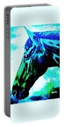 horse portrait PRINCETON really blue Portable Battery Charger