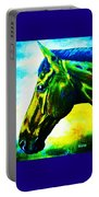 horse portrait PRINCETON vibrant yellow and blue Portable Battery Charger