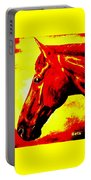 horse portrait PRINCETON yellow and red Portable Battery Charger