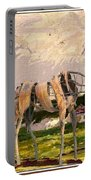 Horse Statue In The Field Portable Battery Charger