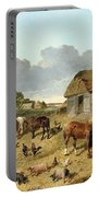 Horses Drinking From A Water Trough, With Pigs And Chickens In A Farmyard Portable Battery Charger