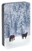 Horses In The Snow Portable Battery Charger