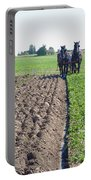 Horses Plowing Rows Two  Portable Battery Charger