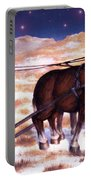 Horses Pulling Log Portable Battery Charger