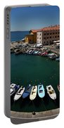 Horseshoe Pattern Of Moored Boats At The Inner Harbour Of Piran  Portable Battery Charger