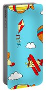 Hot Air Balloons And Airplanes Fly In The Sky Portable Battery Charger