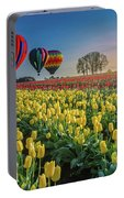 Hot Air Balloons Over Tulip Fields Portable Battery Charger