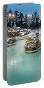 Hot Tubs And Ingound Heated Pool At A Mountain Village In Winter Portable Battery Charger