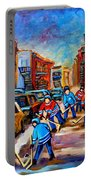 Hotel De Ville Montreal Hockey Street Scene Portable Battery Charger