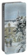 House At Montfoucault Portable Battery Charger by Camille Pissarro