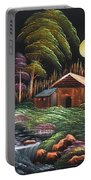 House In Night At Beautiful Site Portable Battery Charger