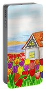 House With Tulips  In Holland Painting Portable Battery Charger