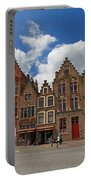 Houses Of Jan Van Eyck Square In Bruges Belgium Portable Battery Charger