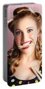 Housewife Doing Cleaning And Pin-up Laundry Chores Portable Battery Charger