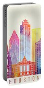 Houston Landmarks Watercolor Poster Portable Battery Charger