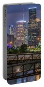 Houston Skyline Over Buffalo Bayou At Twilight Portable Battery Charger