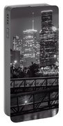 Houston Skyline With Rosemont Bridge In Bw Portable Battery Charger