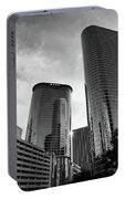 Houston Skyscrapers Black And White Portable Battery Charger