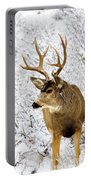 Huge Buck Deer In The Snowy Woods Portable Battery Charger