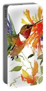 Hummingbird And Orange Flowers Portable Battery Charger