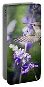 Hummingbird And Purple Lupine  Portable Battery Charger