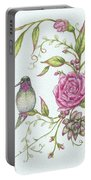 Hummingbird And Rose Portable Battery Charger