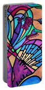 Hummingbird And Stained Glass Hearts Portable Battery Charger