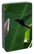 Hummingbird At Banana Flower Portable Battery Charger