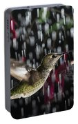 Hummingbird Hovering In Rain With Splash Portable Battery Charger