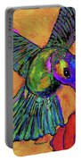 Hummingbird On Yellow Portable Battery Charger