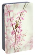 Hummingbird Perched Among Pink Blossoms Portable Battery Charger